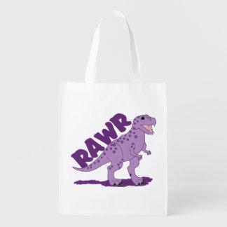RAWRの紫色によって斑点を付けられるTレックスの恐竜 エコバッグ