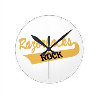 Razorbacksの石 ラウンド壁時計