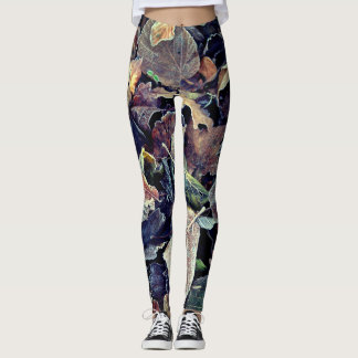 Real tree Leaf Collage Print Leggings レギンス