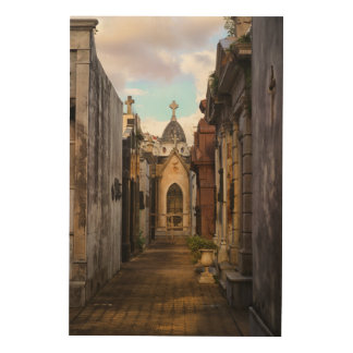 Recoletaの墓地の夕べライト ウッドウォールアート