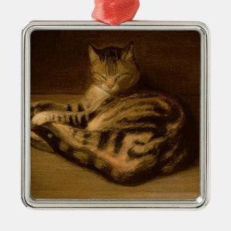 Recumbent猫1898年 メタルオーナメント