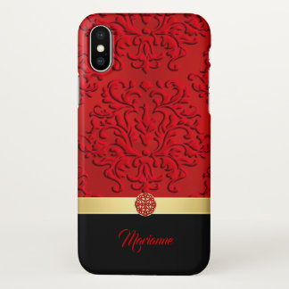 Red and Black Damask and Celtic Knot iPhone X Case iPhone X ケース