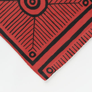 Red and Black Tribal Pattern フリースブランケット