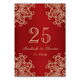 Red and Gold Indian Style Wedding Number カード