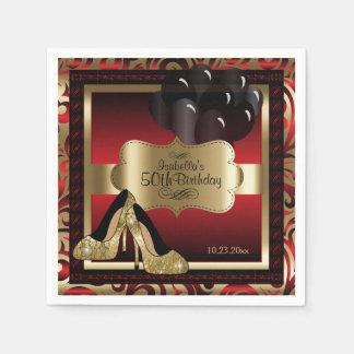 Red and Gold Metallic - 50th Birthday  | DIY Text スタンダードカクテルナプキン