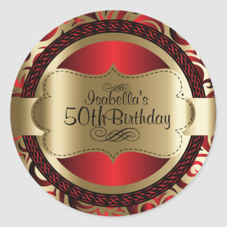 Red and Gold Swirl Abstract Birthday ラウンドシール