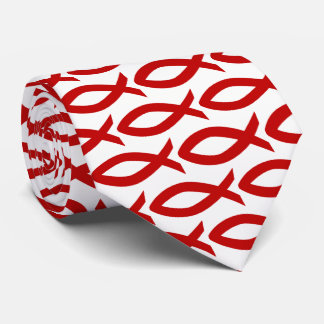 Red and White Christian Fish Symbol  Necktie オリジナルネクタイ