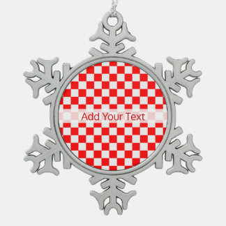 Red and White Classic Checkerboard by STaylor スノーフレークピューターオーナメント