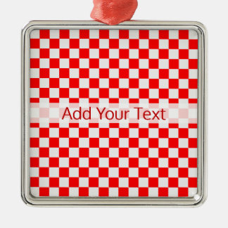 Red and White Classic Checkerboard by STaylor メタルオーナメント