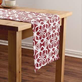 Red and White Large Scale Pattern Table Runner ショートテーブルランナー