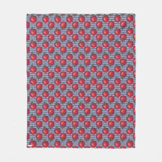 Red Apple Blue Plaid フリースブランケット