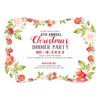 Red Berries Christmas Dinner Party Invitation カード