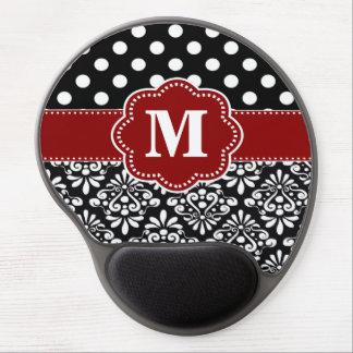Red Black Dots Damask Monogram Mousepad ジェルマウスパッド