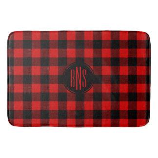 Red Black Lumberjack Buffalo Plaid bath mat バスマット