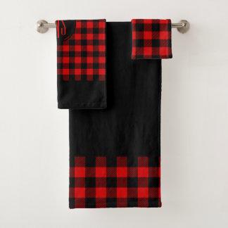 Red Black Lumberjack Buffalo Plaid Pattern バスタオルセット
