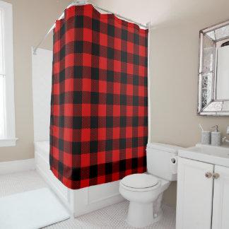 Red Black Lumberjack Buffalo Plaid Shower curtain シャワーカーテン
