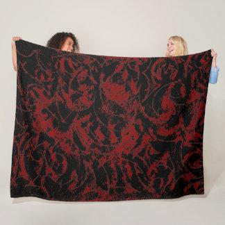 Red Black Ornamental Pattern フリースブランケット