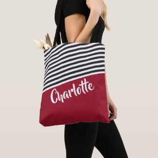 Red Black White Striped Pattern Personalized Name トートバッグ