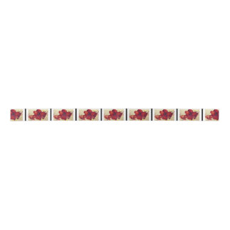 Red Christmas Amaryllis Satin Ribbon サテンリボン