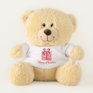 Red Christmas Music Notes Gift Holiday Bear テディベア