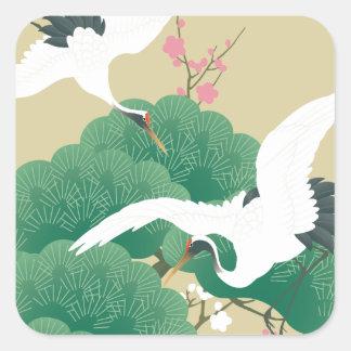 red-crowned crane スクエアシール