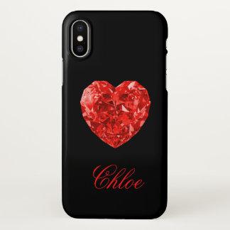 Red Diamond Heart Name iPhone X Case iPhone X ケース