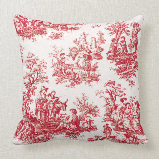 Red French Country Toile クッション
