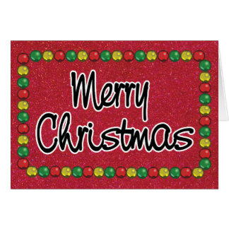 Red Glitter Bead Christmas Card カード