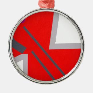 Red&Greyのジグザグ形 メタルオーナメント