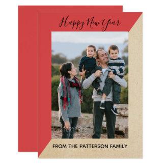 Red Modern Slant New Year's Photo Flat Card カード