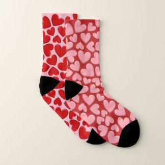 Red & Pink Puffy Hearts Mix Match Socks ソックス