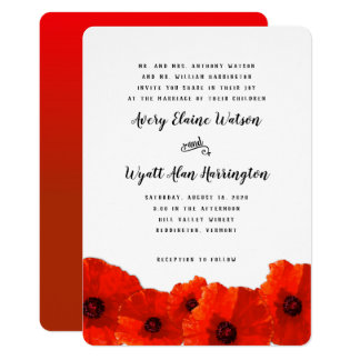 Red Poppy Border Parents Names Wedding Invitation カード