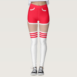 Red Retro Shorts OTK Tube Socks Leggings レギンス