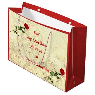 Red Rose Darling Fiance at Christmas design ラージペーパーバッグ