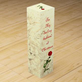 Red Rose Darling husband at Christmas design ワインギフトボックス