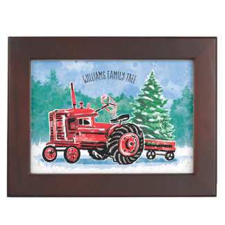 Red Vintage Tractor Christmas Tree Add Photo ジュエリーボックス