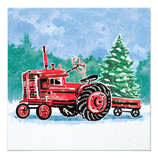 Red Vintage Tractor Christmas Tree Save the Date カード