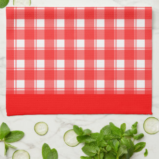 Red White Plaid Patten Kitchen Towel キッチンタオル