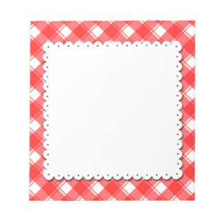 Red White Plaid Pattern Faux Doily Notepad ノートパッド