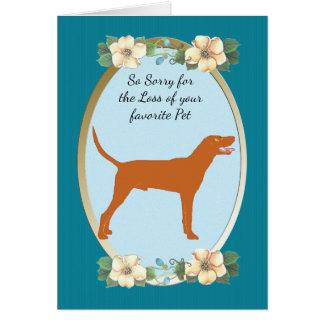 RedboneのCoonhound、ティール(緑がかった色)の花の悔やみや弔慰またはペット損失 カード