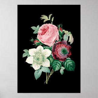 Redouteのプリントの黒い背景のバラの花束 ポスター