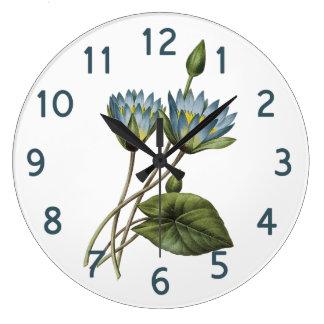 Redouteの青はす花柄の水彩画 ラージ壁時計