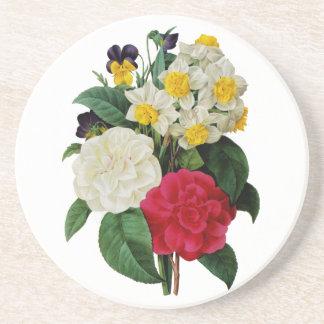 Redoute著パンジー、スイセンおよびツバキの花束 コースター