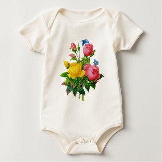Redoute著ピンク及び黄色バラw/Blueの蝶 ベビーボディスーツ
