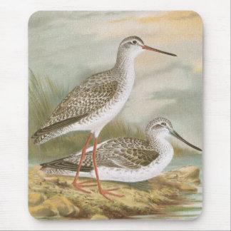 """""""Redshank""""のヴィンテージの鳥のイラストレーション マウスパッド"""