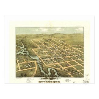 Reedsburgウィスコンシン(1874年)の鳥瞰的な眺め ポストカード