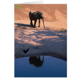 Reflection Elephant in Water Blank Greeting Card カード