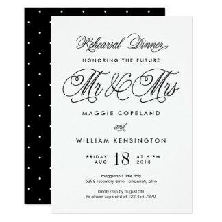 Rehearsal Dinner Invitation未来の氏および夫人 12.7 X 17.8 インビテーションカード