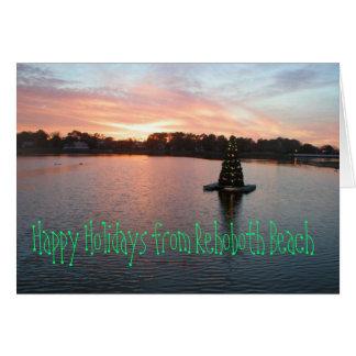 Rehobothのビーチ、DE Holiday Card カード
