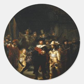 Rembrandt Van Rijn著夜警員を絵を描くこと ラウンドシール